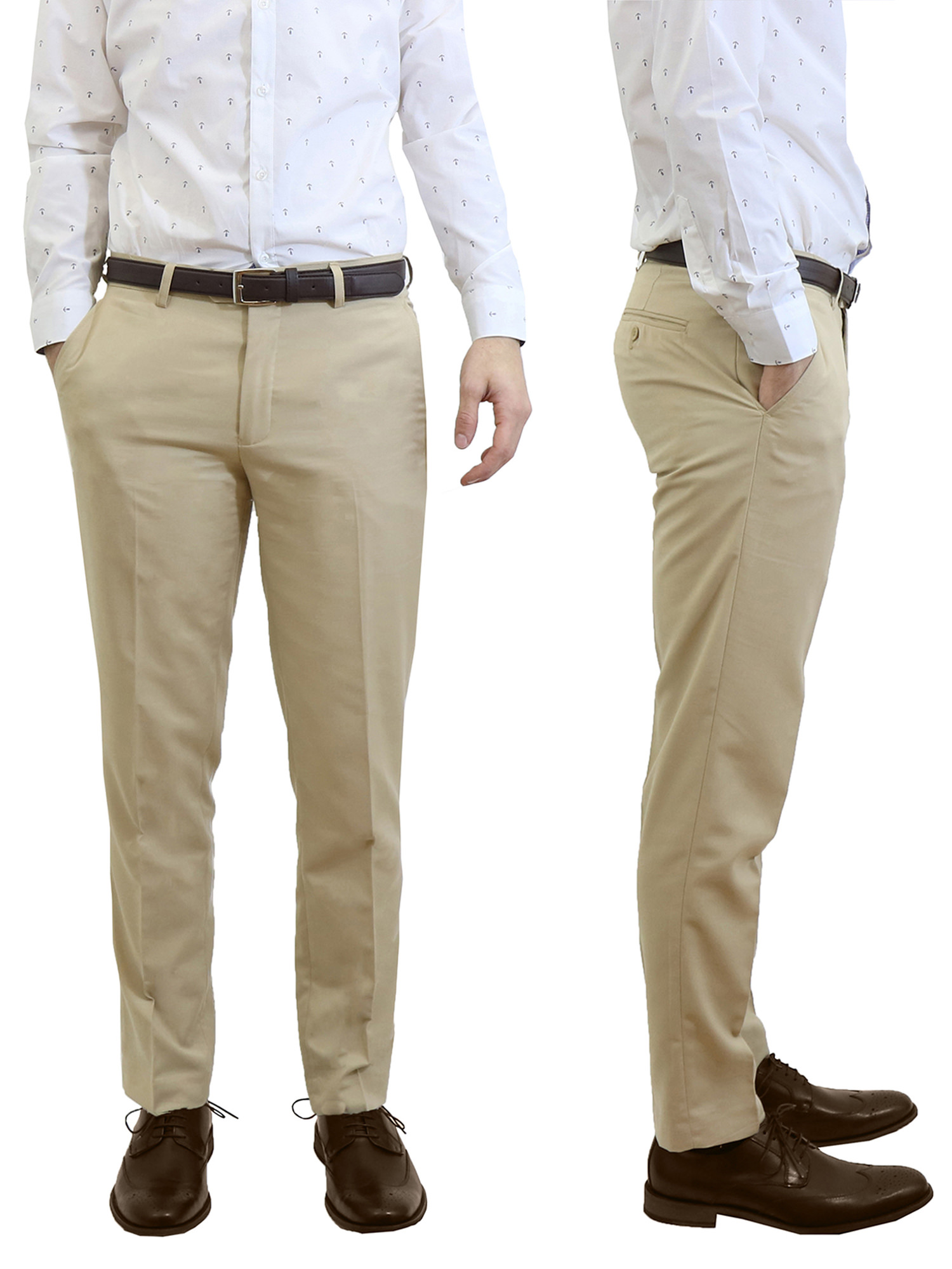 Mens Slim Fit Belted Dress Pants