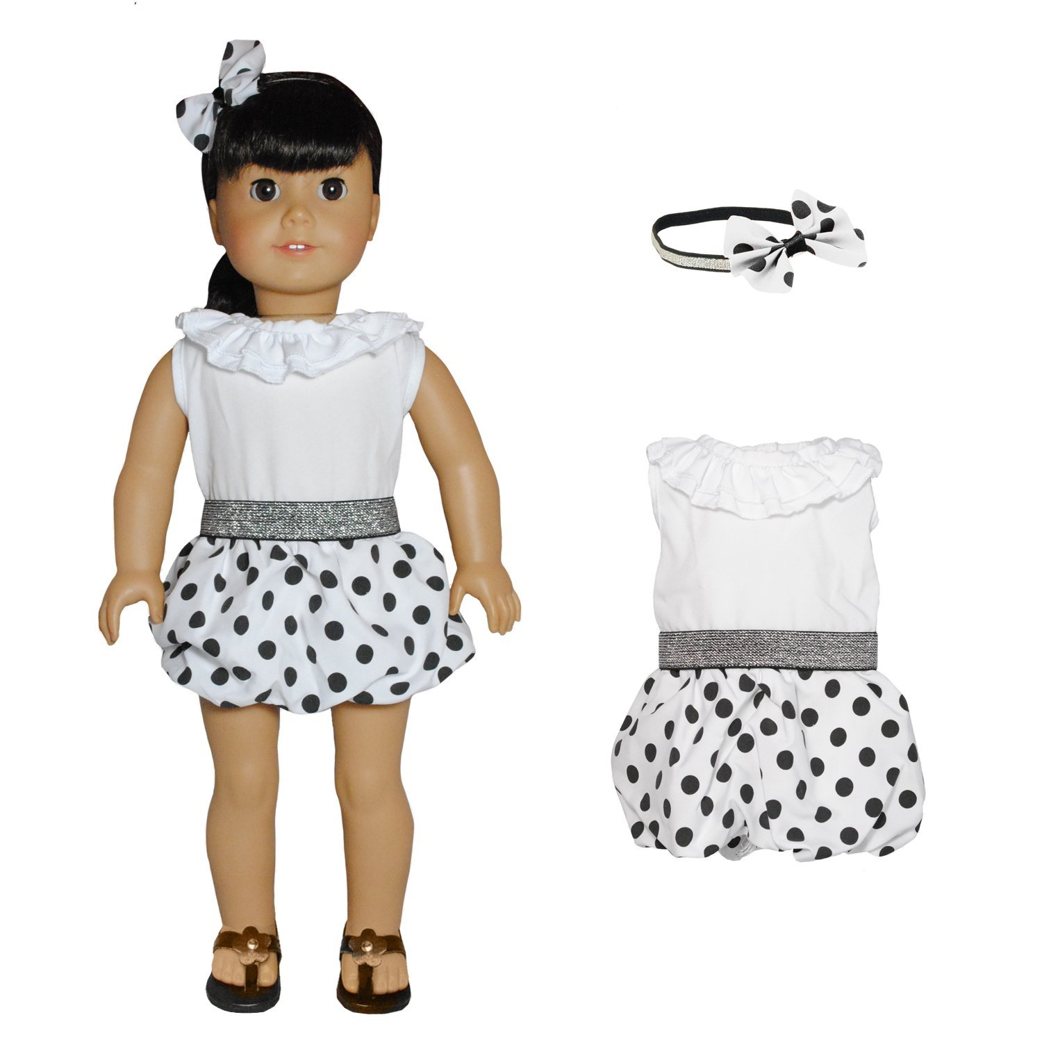 Doll Clothes Polka Dots Outfit Fits American Girl Dolls, My Life Doll and other 18 inches... by Pink Butterfly Closet