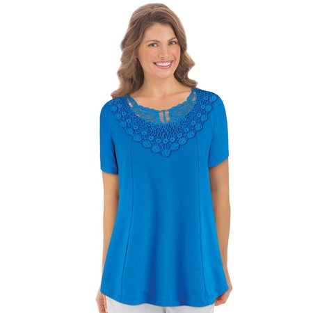 Women's Cute Solid-Color Lace Yoke Trim Short-Sleeve Knit Top - Casual Seasonal Outfit Piece, X-Large, Royal (Lace Trim Knit Top)