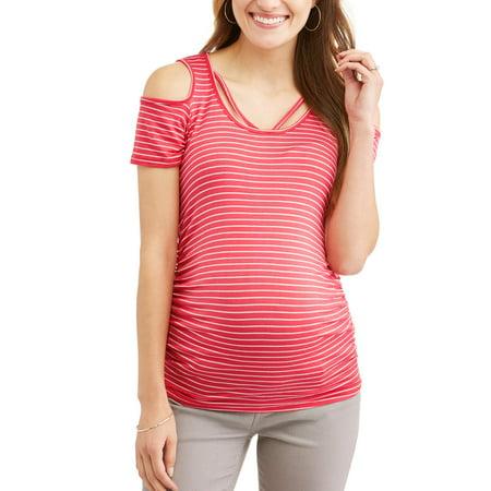 878a9ff12da35 Maternity Cold Shoulder Stripe Top - Walmart.com