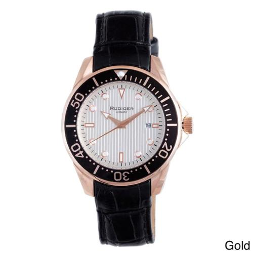 Rudiger Men's Chemnitz Luminous Date Leather Watch Gold
