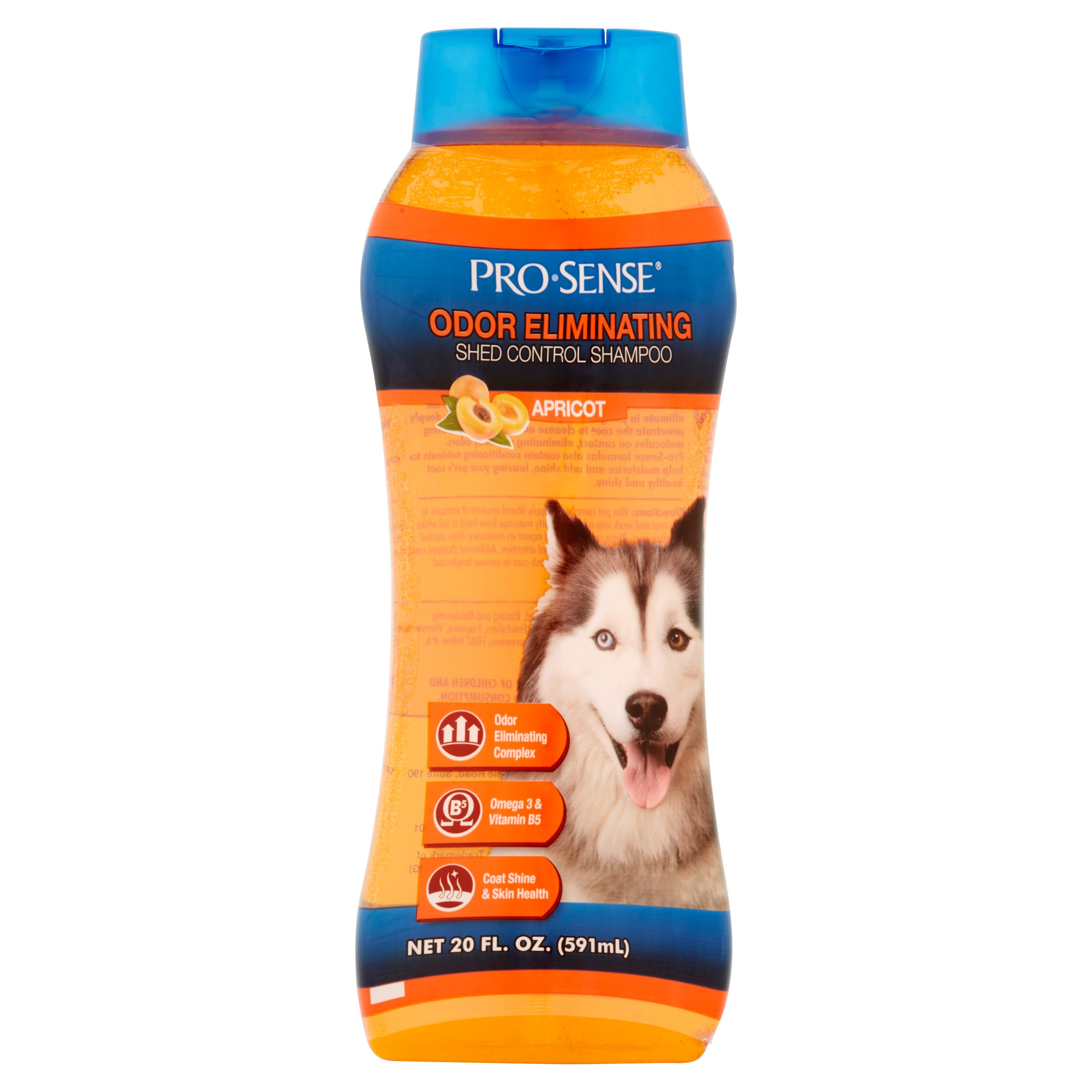 Pro-sense odor eliminating shed control shampoo apricot scent, 20-oz bottle