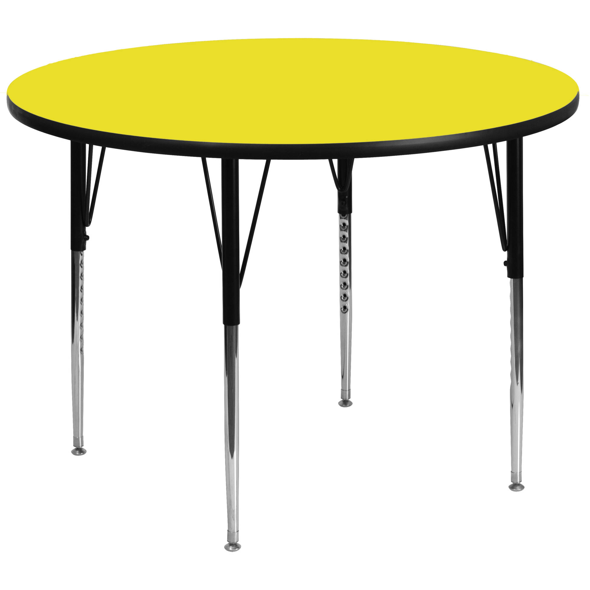 Flash Furniture 48'' Round Activity Table with 1.25'' Thick High Pressure Yellow Laminate Top and Standard Height Adjustable Legs