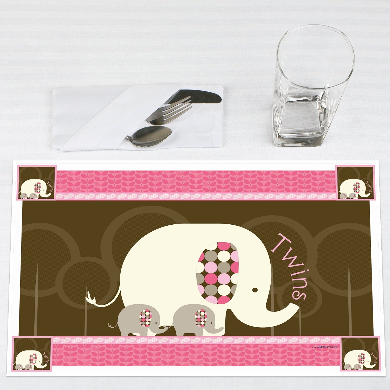 Twin Pink Baby Elephants Party Placemats Set of 12 by Big Dot of Happiness, LLC