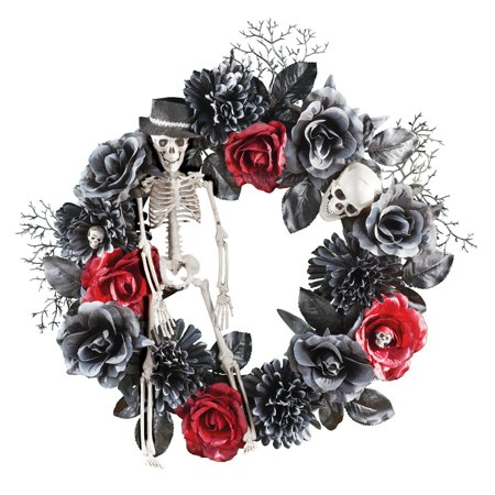 Halloween Wreath Decorations (Skeleton and Roses Halloween Wreath Decoration with Hook on the Back for Easy)
