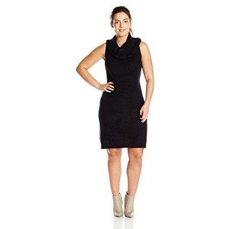 bb dakota women\'s plus-size renton turtleneck dress, black, 2x