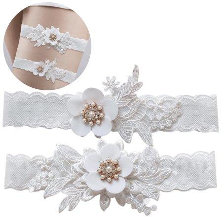 2PCS Womens Bridal Garters Set Rhinestone Pearl Leg Ring Lace Garter for Wedding Vintage Wedding Bridal Garter