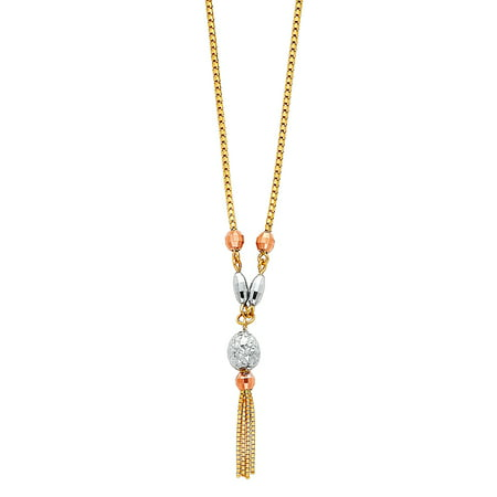 - FB Jewels 14K Rose White and Yellow Tri Color Gold 1.5mm Box Chain Hanging Tassel Chain Necklace 17 Inches