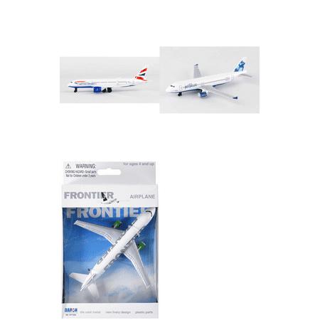 British Airways  Jetblue  Frontier Airlines Diecast Airplane Package   Three 5 5  Diecast Model Planes
