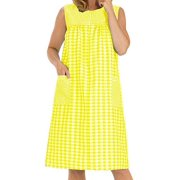 Women's Sleeveless Zipper Gingham Shift House Dress Duster By EZI