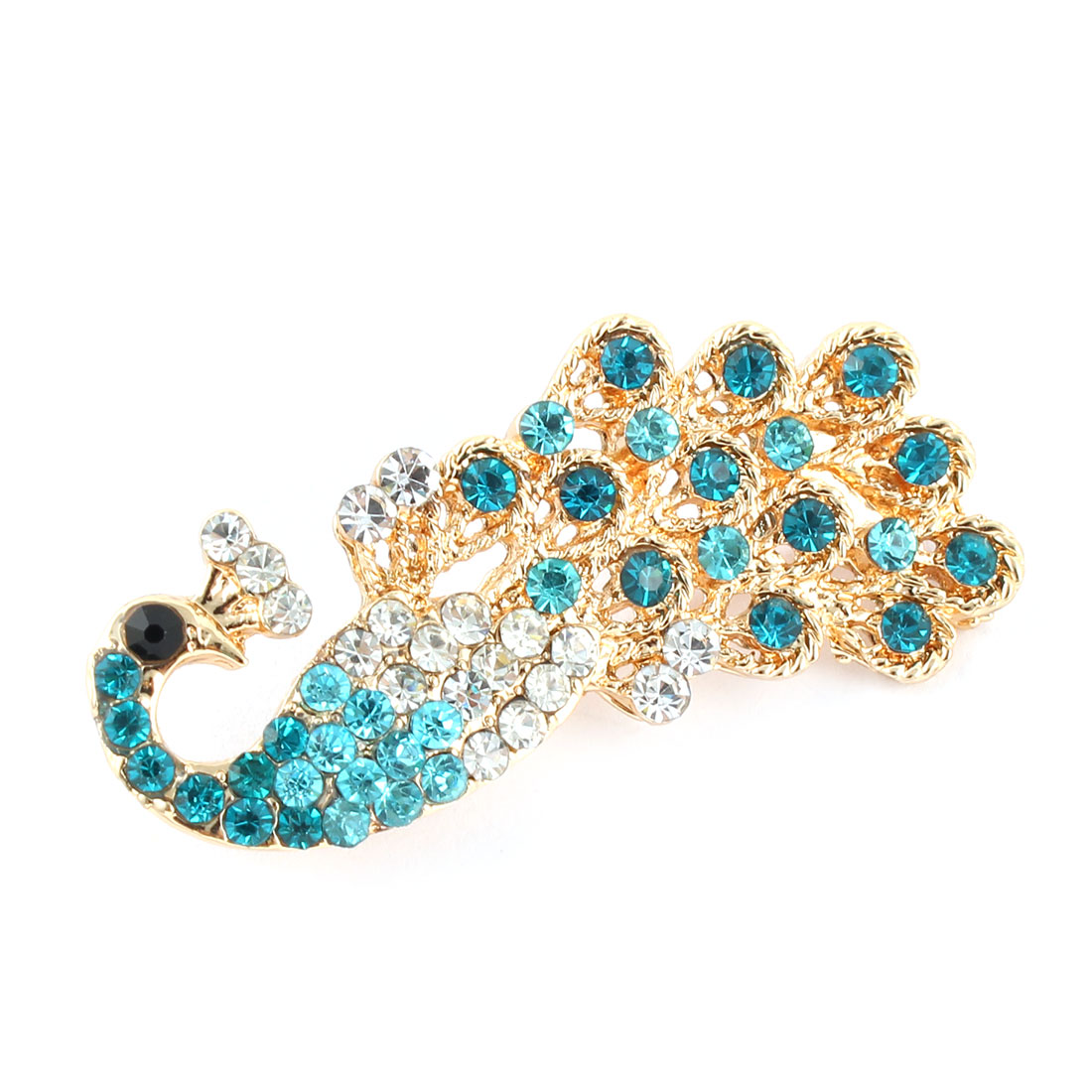 Women Metal Peacock Shape Hairstyle Snap Hair Clip Barrette Light Blue