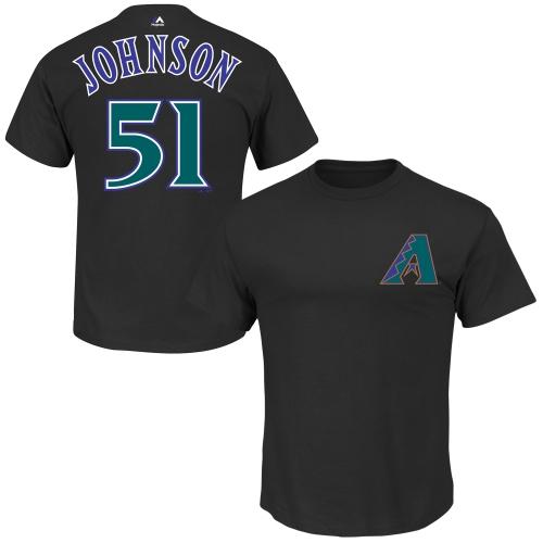 Randy Johnson Arizona Diamondbacks Majestic Cooperstown Collection Name & Number T-Shirt - Black
