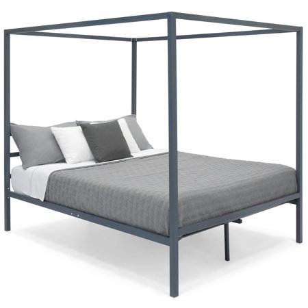 Best Choice Products Industrial 4 Corner Post Steel Canopy Queen Platform Bed Frame w/ Headboard, Metal Slats - Gray ()