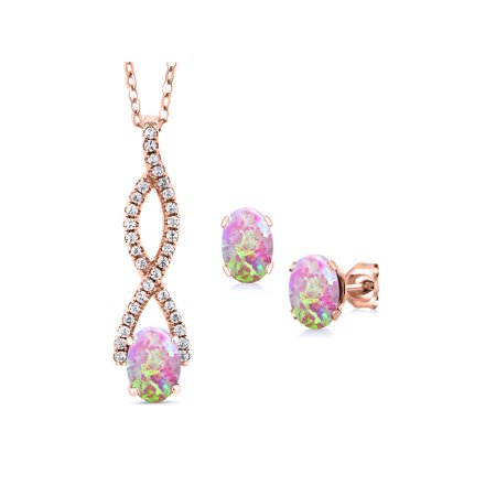 2.27 Ct Oval Cabochon Pink Simulated Opal 18K Rose Gold Plated Silver Pendant Earrings Set