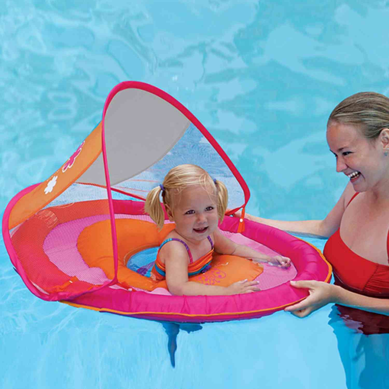 Swim Ways Baby Spring Float With Sun Canopy Orange Amp Pink