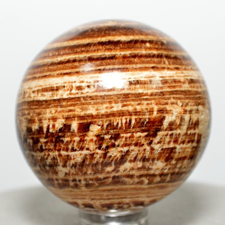 Aragonite Crystal - 43mm Brown Aragonite Banded Sphere Natural Decor Crystal Polished Mineral Stone Ball - Peru + Plastic Stand