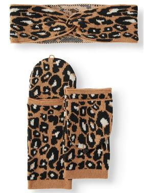 Scoop Twisted Ski Band and Fingerless Glove Gift Set Women's