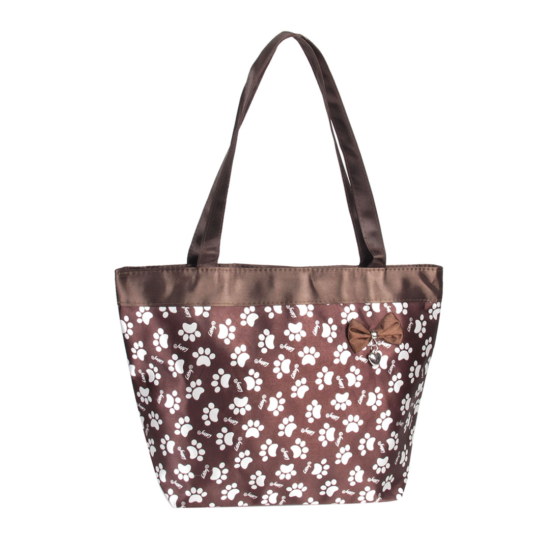 Unique Bargains Reusable Coffee Color White Happy Letter Print Zip Up Tote Shopping Handbag