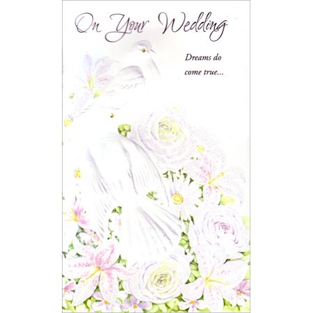 Freedom Greetings Doves on White Flower Arrangement Wedding / Marriage Congratulations Card - Wedding Greeting Cards