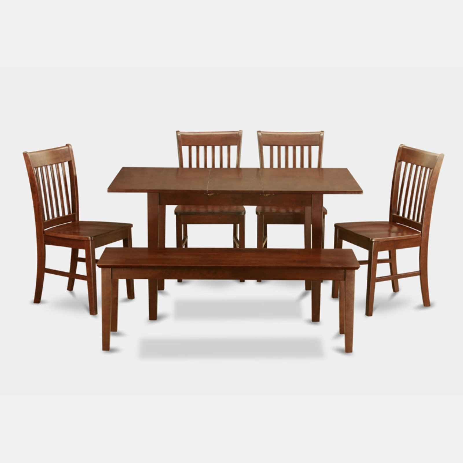 East West Furniture Norfolk 6 Piece Slat Back Dining Table Set
