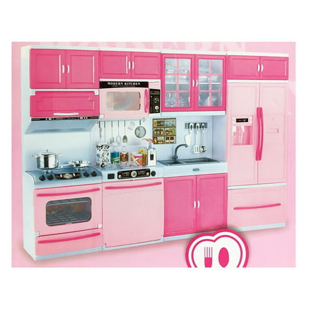Deluxe Modern Kitchen 32 Full Deluxe Kit Battery Operated Toy Doll Kitchen Playset w/ Lights, Sounds, Perfect for Use with 11-12