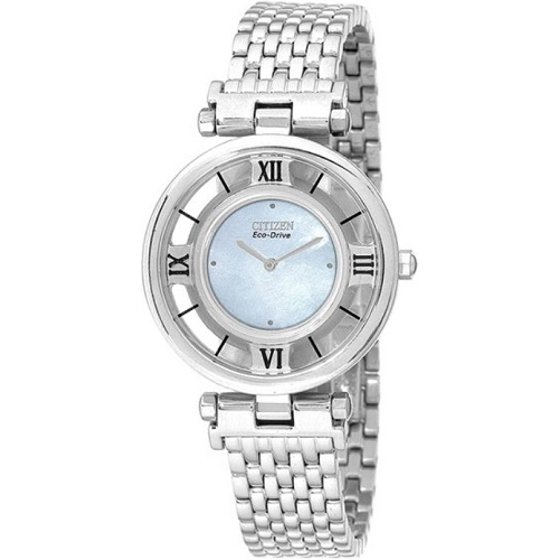 Citizen Eco Drive Stiletto Mother Of Pearl Stainless Steel Womens
