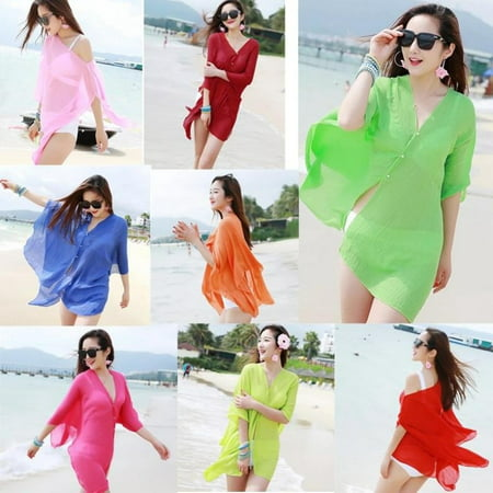 Womens Swimwear Beachwear Bikini Beach Wear Cover Up Kaftan Summer Shirt