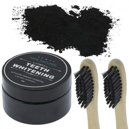 Teeth Whitening Powder (Organic Coconut Activated Charcoal Toothbrushes & Natural Teeth Whitening Powder )