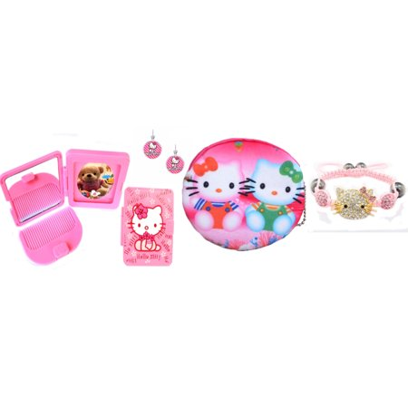 Kitty Handmade Crystal Bracelet Coin Purse Mirror and Comb Set Clip on Post Earrings