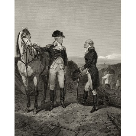 First Meeting Of George Washington 1732 To 1799 With Alexander Hamilton 1755 Or 1757 To 1804 After Alonzo Chappel From Life And Times Of Washington Volume 1 Published 1857 Posterprint