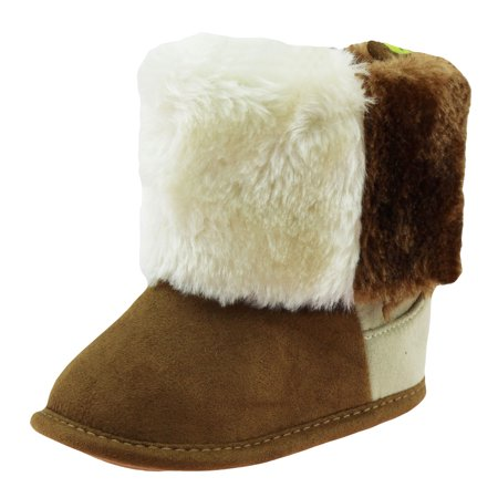 First Steps Cute Bay Girls Vegan Suede Faux Shearling Warm Winter Baby Boots | Soft Sole