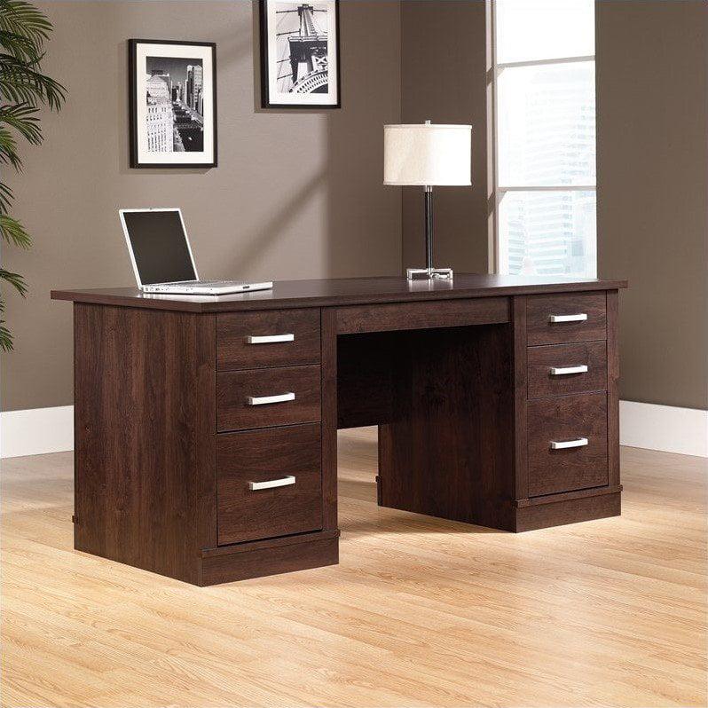 Sauder Office Furniture Office Port Executive Desk in Dark Alder by Sauder