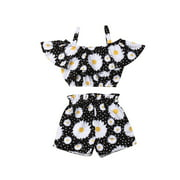 Summer Toddler Baby Girl Clothes Off Shoulder Ruffle Sling Crop Tops Short Pants 2Pcs Outfits Clothes