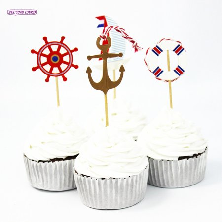 Lula Party (12 Nautical Picks Pics Cupcake Cake Birthday Party Favors)