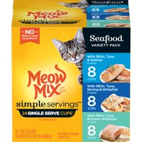 (Pack of 24) Meow Mix Simple Servings Seafood Variety Pack Wet Cat Food, 2.75 Oz