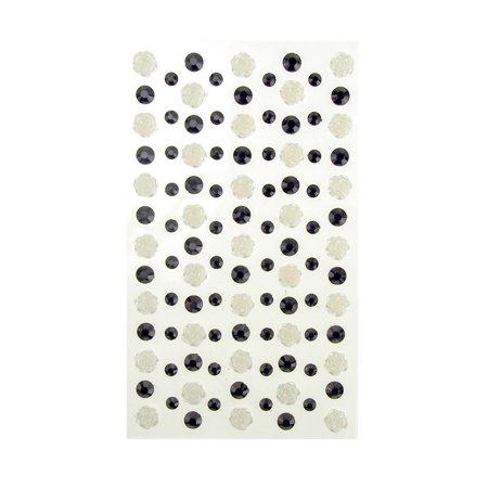 Rose and Flatback Gem Adhesive Rhinestone Stickers, Black/White, 105-Piece Jewels Adhesive Rhinestones