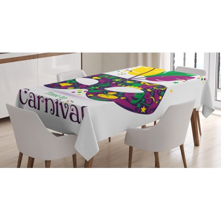 Mardi Gras Tablecloth, Time To Carnival Themed Design Mask with Carnival Icons and Feathers, Rectangular Table Cover for Dining Room Kitchen, 52 X 70 Inches, Magenta Green Yellow, by Ambesonne