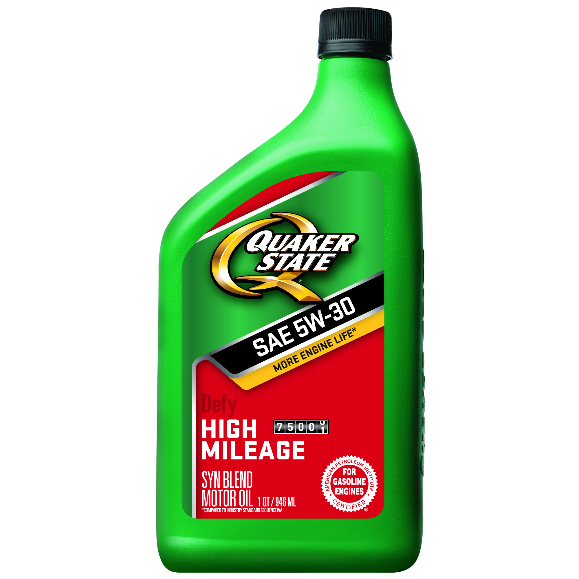 (6 Pack) Quaker State High Mileage 5W-30 Motor Oil, 1 qt