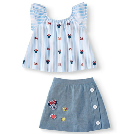 Girls' Minnie Mouse Striped Ruffle Tee and Patches Scooter, 2-Piece Outfit Set
