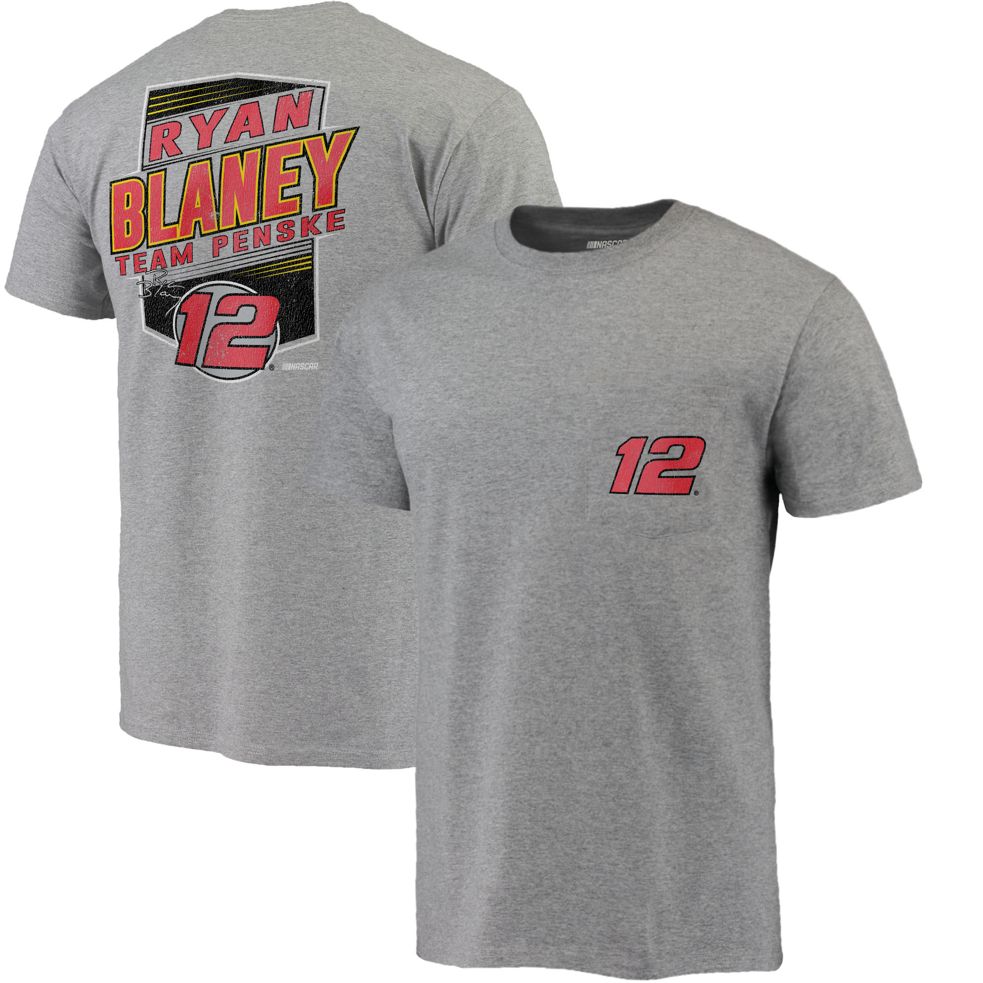 Ryan Blaney Fanatics Branded Pocket T-Shirt - Heather Gray