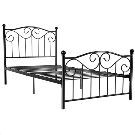 Metallic Twin Size Bed (Yaheetech Steel Smart Base Twin Bed Frame w/Headboard & Footboard Vintage, Multiple Colors )