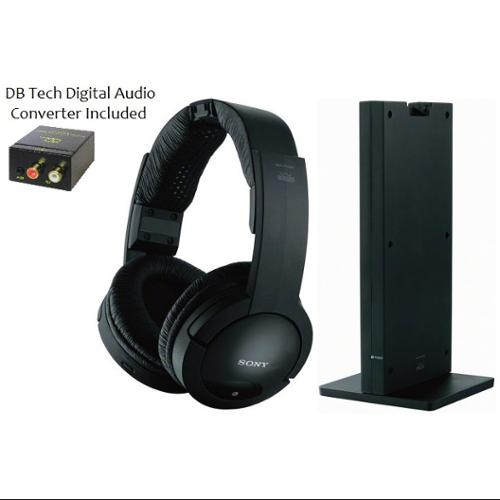 Sony 150 feet Expanded Long Range RF Wireless Noise Reducing Dynamic Stereo Headphones with Volume Control + DB Tech Digital to Analog Audio Converter