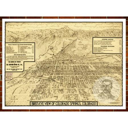Ted's Vintage Art Map of Colorado Springs, CO 1909; Old Colorado Decor 8