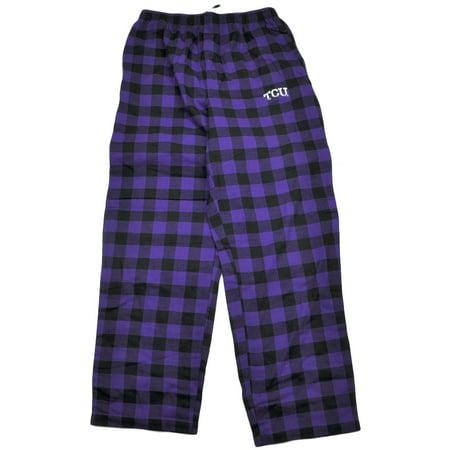 NCAA TCU Horned Frogs Purple Black Plaid Pajamas Pants Sleep Wear Mens XLarge