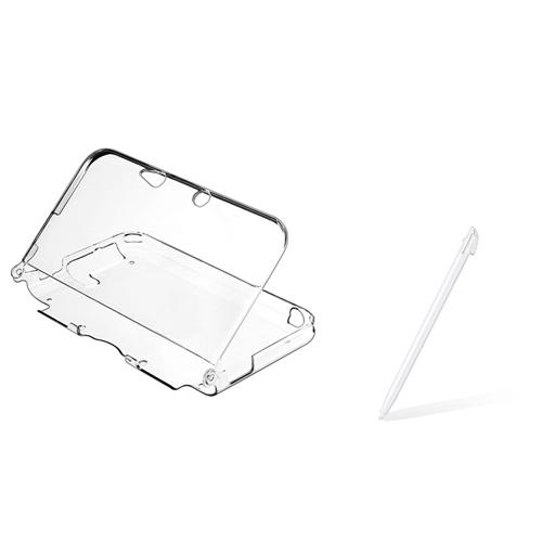 Insten Clear Crystal Protective Case Cover+White Stylus Pen For Nintendo 3DS XL LL