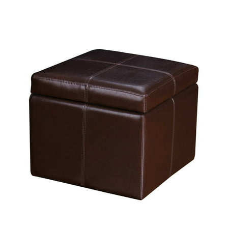 Joveco Bonded Leather Cross Stitch Square Cube Storage Ottoman (Brown)