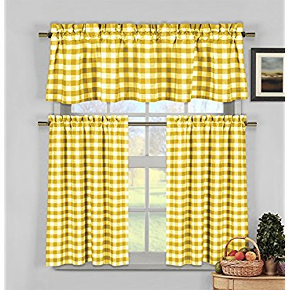 Kingston Checks Kitchen Curtain 3Pc Set Yellow](Kingston Plaza)