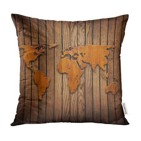 ECCOT Brown Carve World Map Carving on Wood Plank Table Wall Pillow Case  Pillow Cover 20x20 inch