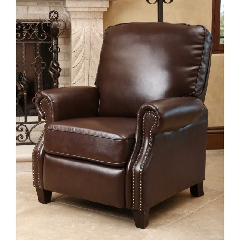 Abbyson Clarkton Leather Pushback Recliner in Brown