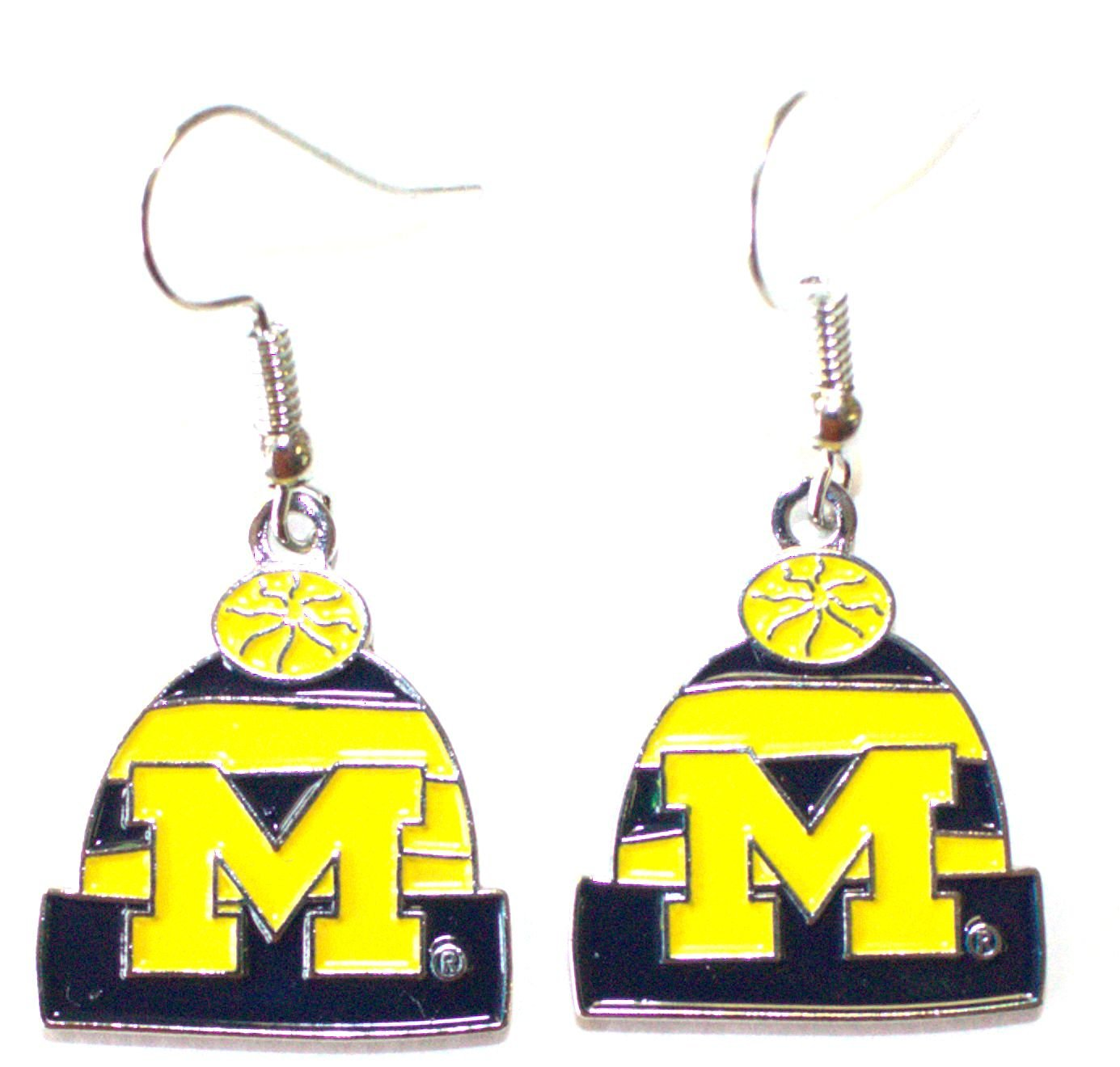 NCAA Officially Licensed Michigan Wolverines Beanie Style Dangle Earrings